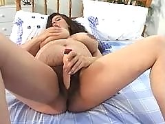 Pregnant hottie with hairy pussy enjoy dildo