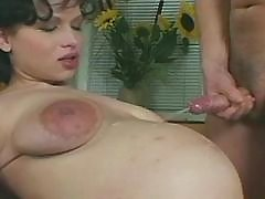 Pregnant girl get cumload on paunch